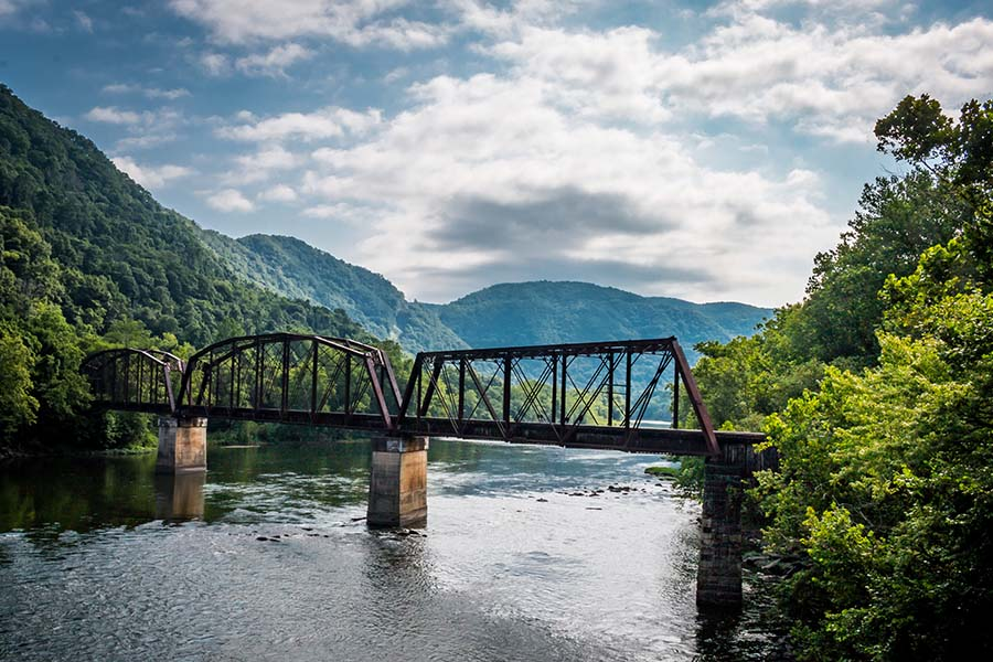 Header - River Bridge And Mountains